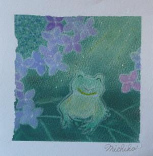 蛙とガクアジサイ